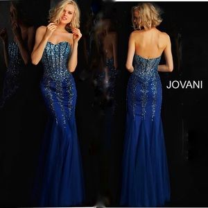 Jovani Navy Sequin Embellished Strapless Prom Gown